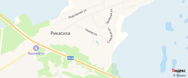 Промышленная зона Промузел Рикасиха на карте деревни Рикасихи с номерами домов