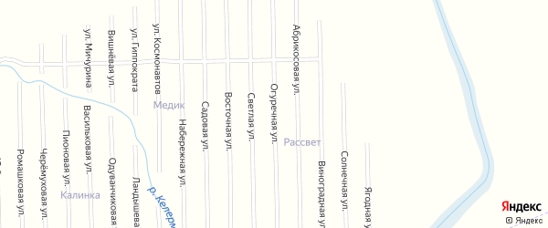 Огуречная улица на карте садового некоммерческого товарищества Рассвета с номерами домов