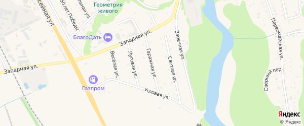 Гаражная улица на карте Тульского поселка с номерами домов