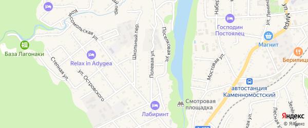 Полевая улица на карте Каменномостского поселка с номерами домов