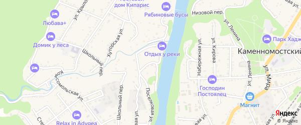 Обрывной переулок на карте Каменномостского поселка с номерами домов