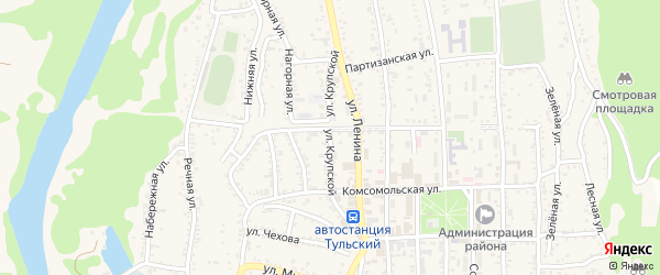 Улица Крупской на карте Тульского поселка с номерами домов