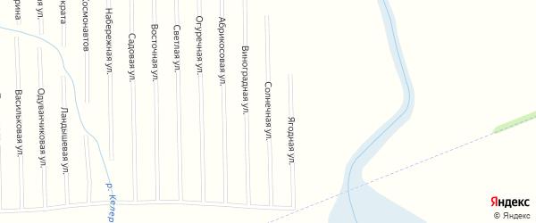 Солнечная улица на карте садового некоммерческого товарищества Рассвета с номерами домов