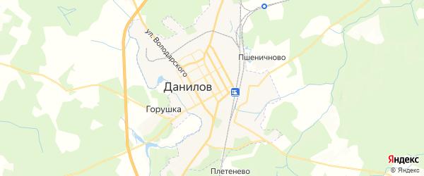 Карта Данилова с районами, улицами и номерами домов