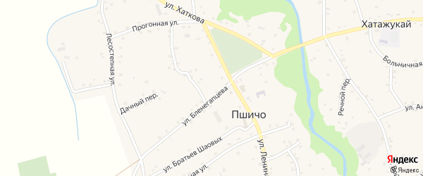 Короткая улица на карте аула Пшичо с номерами домов