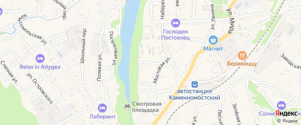Майский 1-й тупик на карте Каменномостского поселка с номерами домов