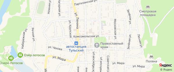 Комсомольская улица на карте Тульского поселка с номерами домов