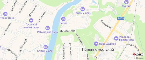 Низовой переулок на карте Каменномостского поселка с номерами домов