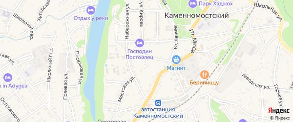 Охотничий тупик на карте Каменномостского поселка с номерами домов
