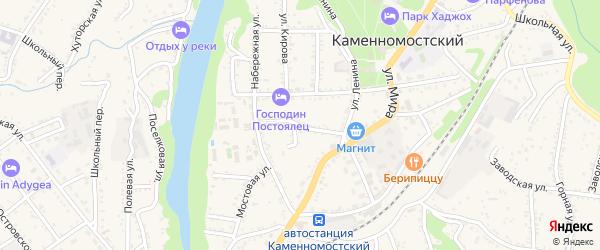 Охотничий переулок на карте Каменномостского поселка с номерами домов