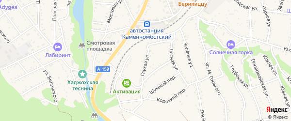 Глухая улица на карте Каменномостского поселка с номерами домов
