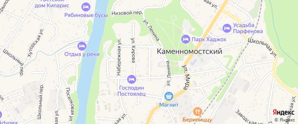 Пионерская улица на карте Каменномостского поселка с номерами домов