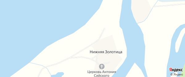Карта деревни Нижней Золотица в Архангельской области с улицами и номерами домов