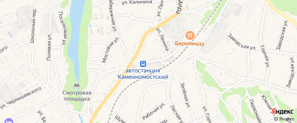 Привокзальная улица на карте Каменномостского поселка с номерами домов