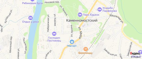 Улица Ленина на карте Каменномостского поселка с номерами домов
