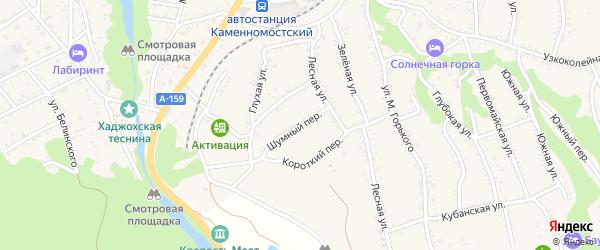 Шумный переулок на карте Каменномостского поселка с номерами домов