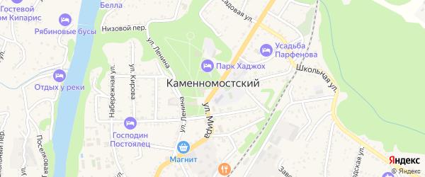Белая улица на карте Каменномостского поселка с номерами домов