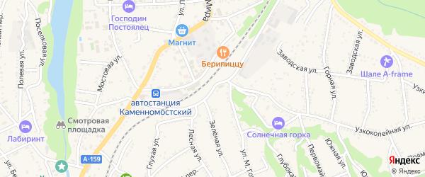 Железнодорожная улица на карте Каменномостского поселка с номерами домов