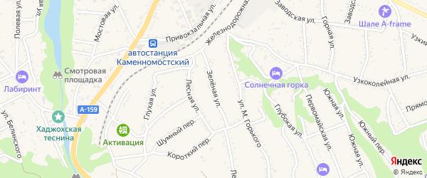 Зеленая улица на карте Каменномостского поселка с номерами домов
