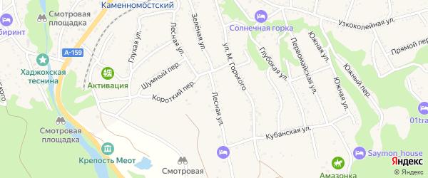 Лесная улица на карте Каменномостского поселка с номерами домов