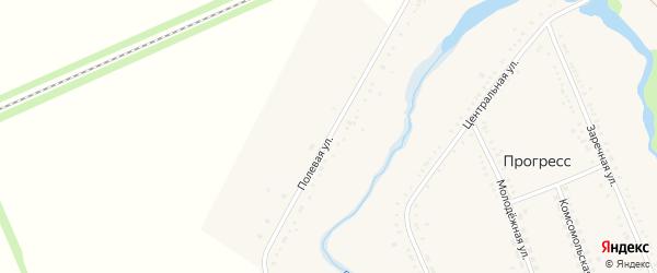 Полевая улица на карте хутора Прогресса с номерами домов