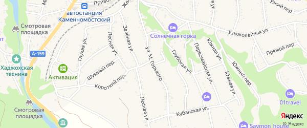 Улица М.Горького на карте Каменномостского поселка с номерами домов