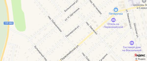 Пионерская улица на карте железнодорожной станции Лепши с номерами домов