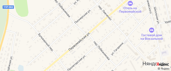 Первомайская улица на карте Заозерного поселка с номерами домов