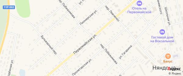 Первомайская улица на карте Няндомы с номерами домов
