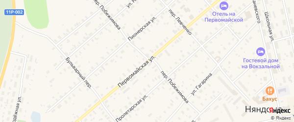 Первомайская улица на карте железнодорожной станции Лепши с номерами домов