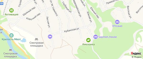 Кубанская улица на карте Каменномостского поселка с номерами домов