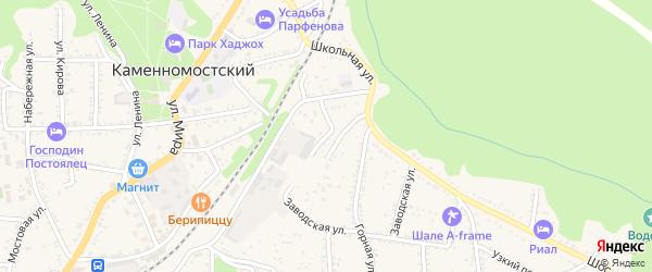 Шоссейный переулок на карте Каменномостского поселка с номерами домов