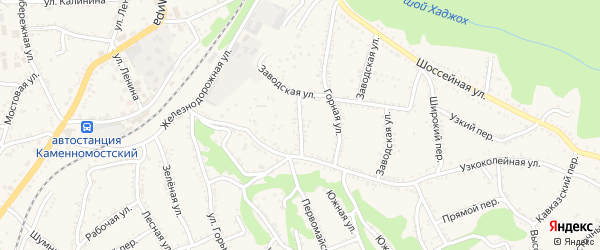 Новозаводская улица на карте Каменномостского поселка с номерами домов