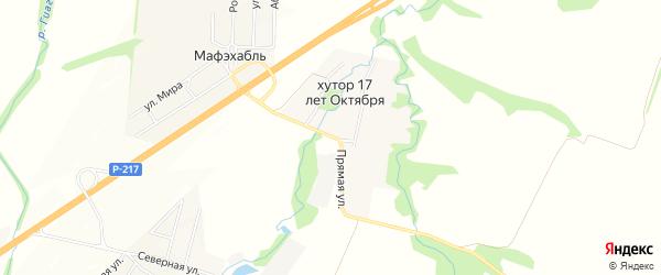 Карта хутора 17 лета Октября в Адыгее с улицами и номерами домов