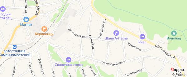 Заводская улица на карте Каменномостского поселка с номерами домов