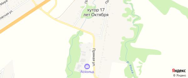 Прямая улица на карте хутора 17 лета Октября с номерами домов