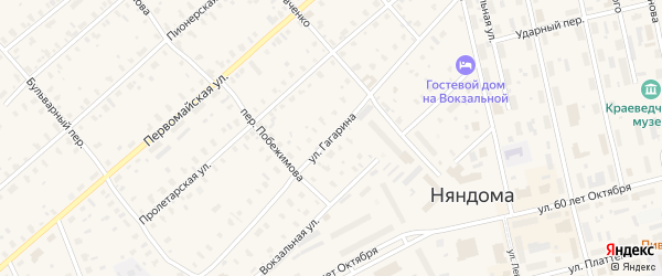 Улица Гагарина на карте железнодорожной станции Шожмы с номерами домов