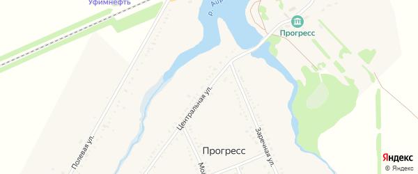 Центральная улица на карте хутора Прогресса с номерами домов