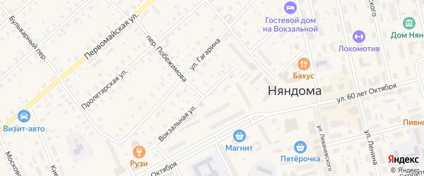 Вокзальная улица на карте Няндомы с номерами домов