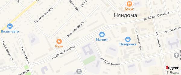 Улица 60 лет Октября на карте Няндомы с номерами домов
