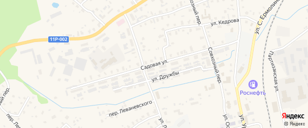 Садовая улица на карте железнодорожной станции Шожмы с номерами домов