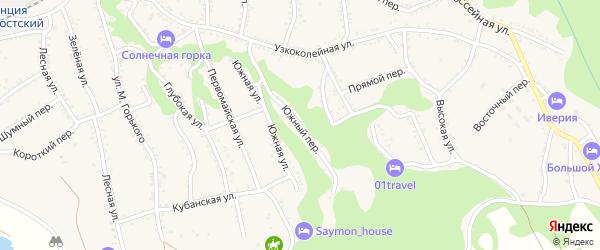 Южный переулок на карте Каменномостского поселка с номерами домов