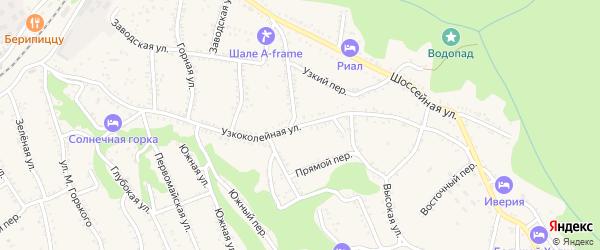 Узкоколейная улица на карте Каменномостского поселка с номерами домов