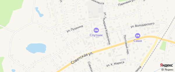 Улица Володарского на карте Няндомы с номерами домов