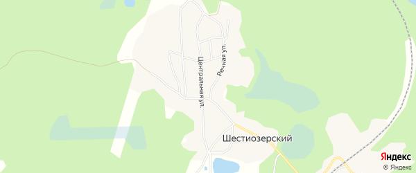 Карта Шестиозерского поселка в Архангельской области с улицами и номерами домов
