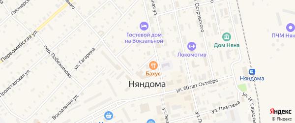 Пригородная улица на карте Няндомы с номерами домов