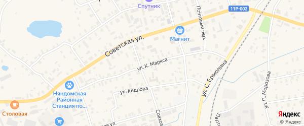 Улица К.Маркса на карте Няндомы с номерами домов