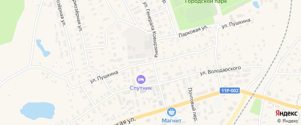 Улица Пушкина на карте Няндомы с номерами домов