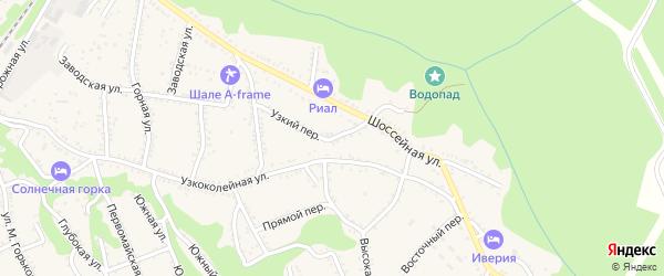 Узкий переулок на карте Каменномостского поселка с номерами домов
