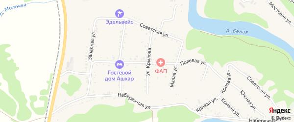 Улица Крылова на карте Абадзехской станицы с номерами домов